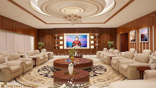 Sắc vàng làm chủ đạo trong thiết kế nội thất phòng khánh tiết sự sang trọng cũng như đảm bảo nét đẹp tinh tế của căn phòng