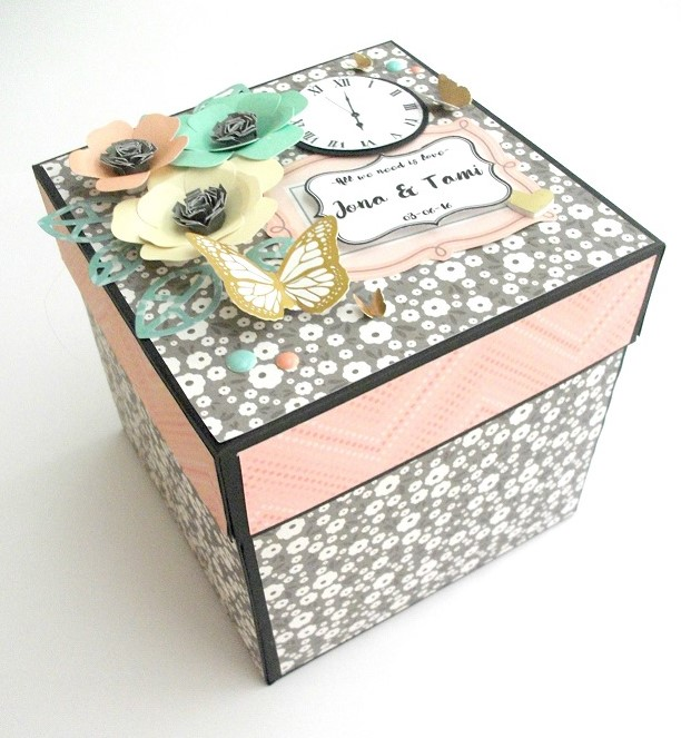 Raquel entre papel caja explosiva para boda de estilo moderno - Cajas forradas de papel ...