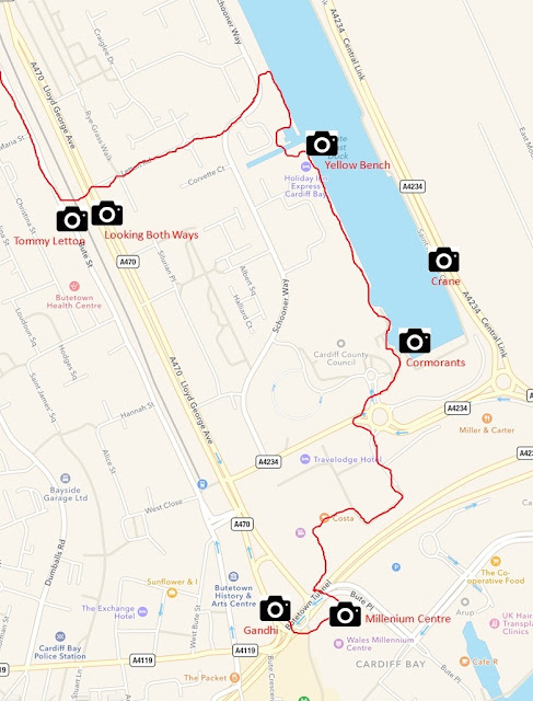 Route from Cardiff City Centre to Bay