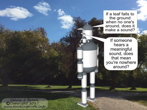 Two robots are wondering about the sound of unheard falling leaves