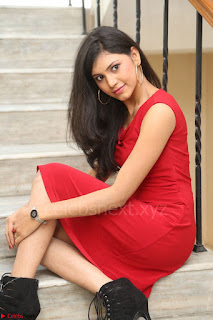 Mounika Telugu Actress in Red Sleeveless Dress Black Boots Spicy Pics 062.JPG