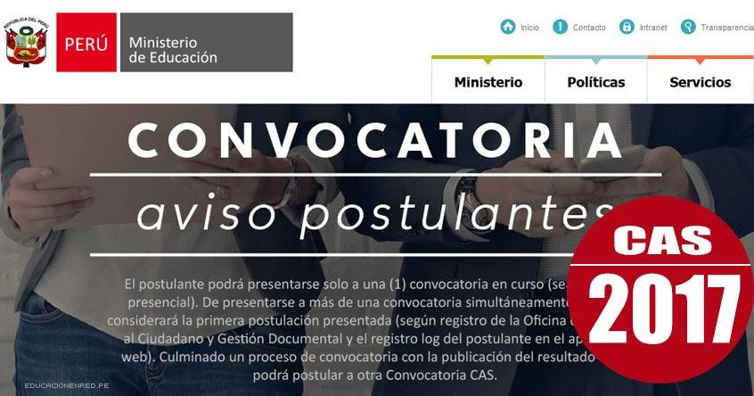 Minedu convocatoria cas febrero 2017 puestos de trabajo for Convocatoria de docentes 2017