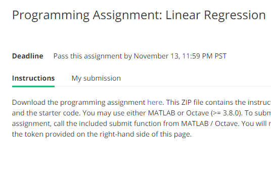Week 2/11]Machine Learning - Programming Assignment: Linear