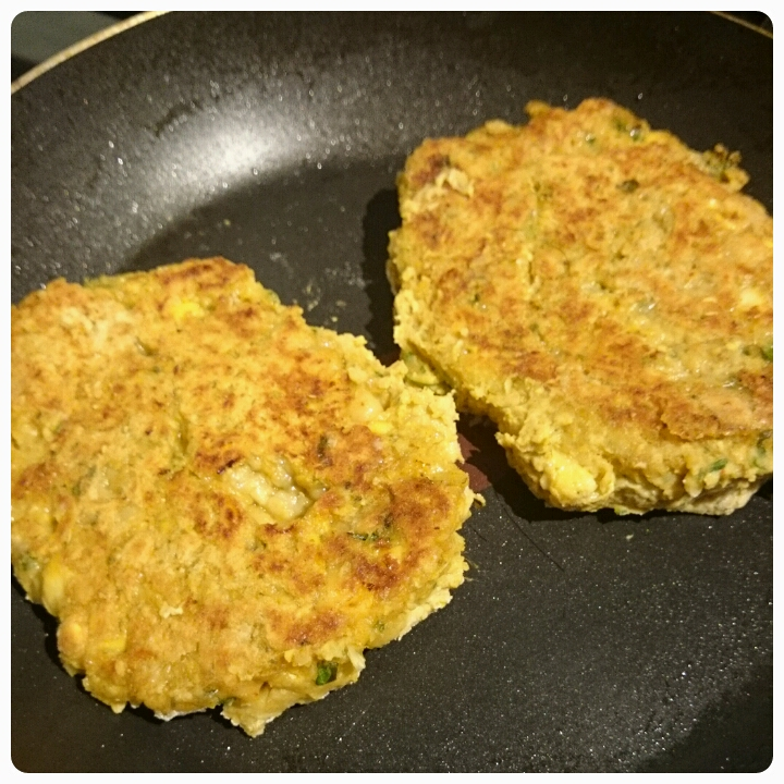 cooking spicy chickpea burgers