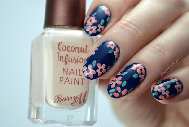 autumn nail art flowers free hand dainty