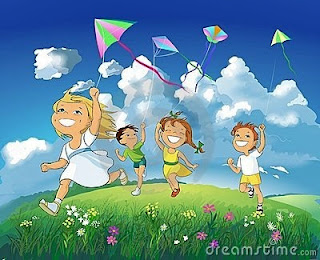 children enjoying kite flying