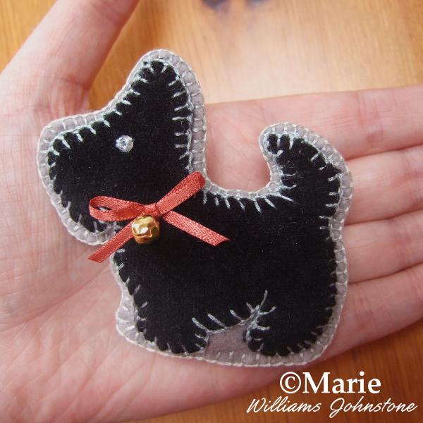 Black and gray felt handmade Scottish Terrier dog design plush