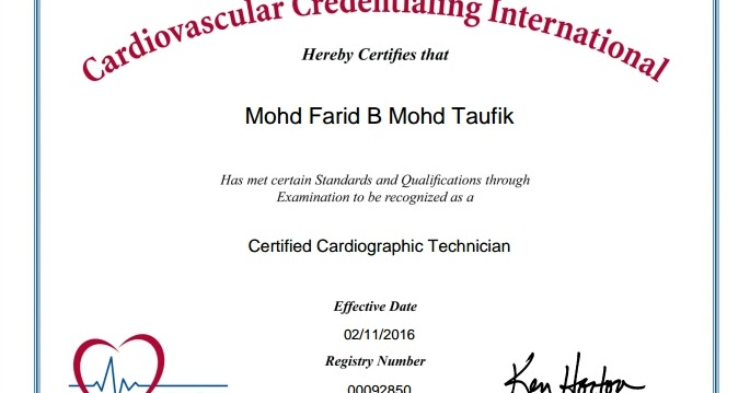 CVT Mohd Farid: Certified Cardiographic Technician (CCT)
