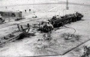 I rottami del missile dopo l'esplosione.