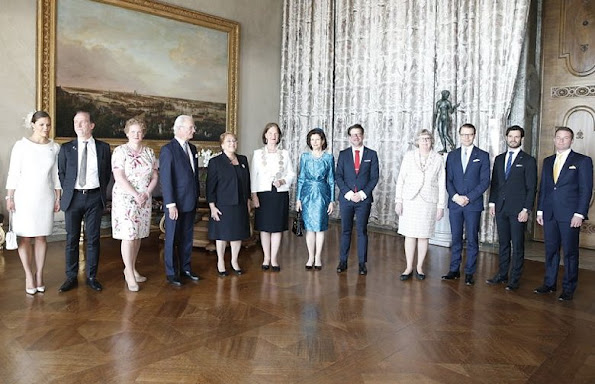 King Carl Gustaf and Queen Silvia of Sweden, Crown Princess Victoria, Prince Daniel and Prince Carl Philip of Sweden held a lunch