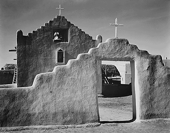 Church in Taos Pueblo, New Mexico by Ansel Easton Adams (February 20 1902 - April 22, 1984)