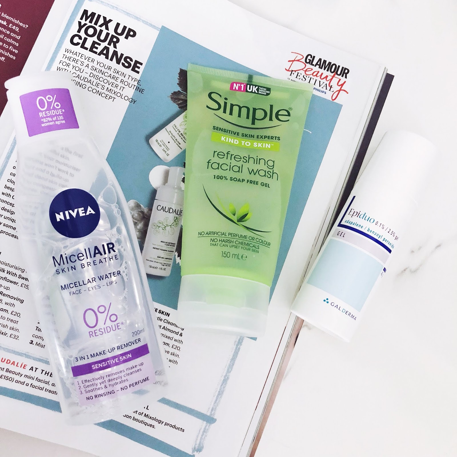 nivea micellar water, simple facial wash, epiduo