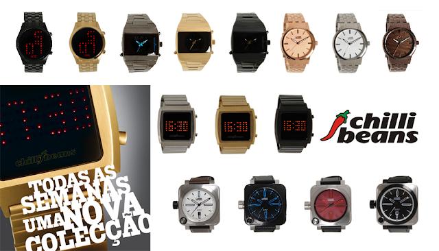 9c96c87c7 Os relógios Chilli Beans são a grande novidade da marca. Seguindo o  conceito aplicado aos óculos de sol, todas as semanas haverá uma nova  colecção, ...