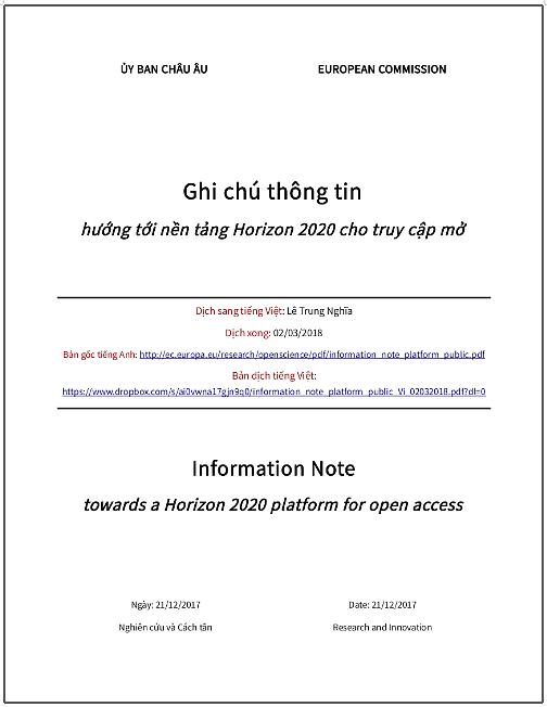 'Ghi chú thông tin hướng tới nền tảng Horizon 2020 cho truy cập mở' - bản dịch sang tiếng Việt
