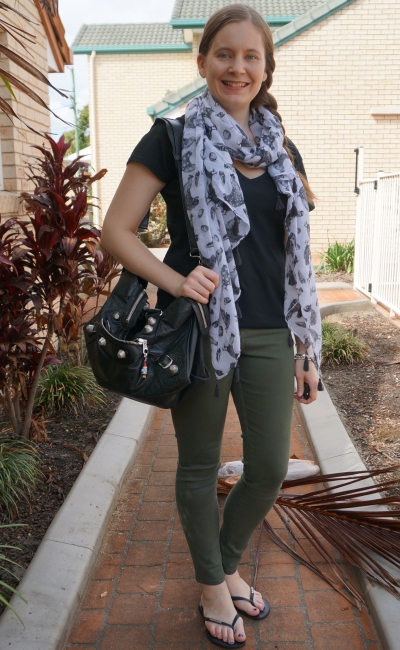 bird print scarf print addition to olive skinny jeans black tee balenciaga part time bag | awayfromblue