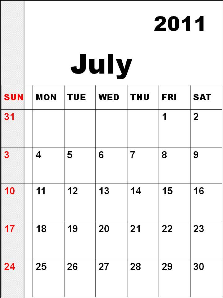 june july calendar 2011 - photo #14