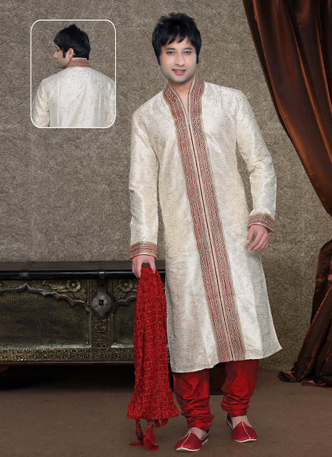 Cream And Maroon Embroidered Kurta Pyjama