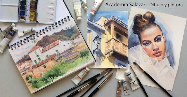 Acuarelas de paisaje y retrato