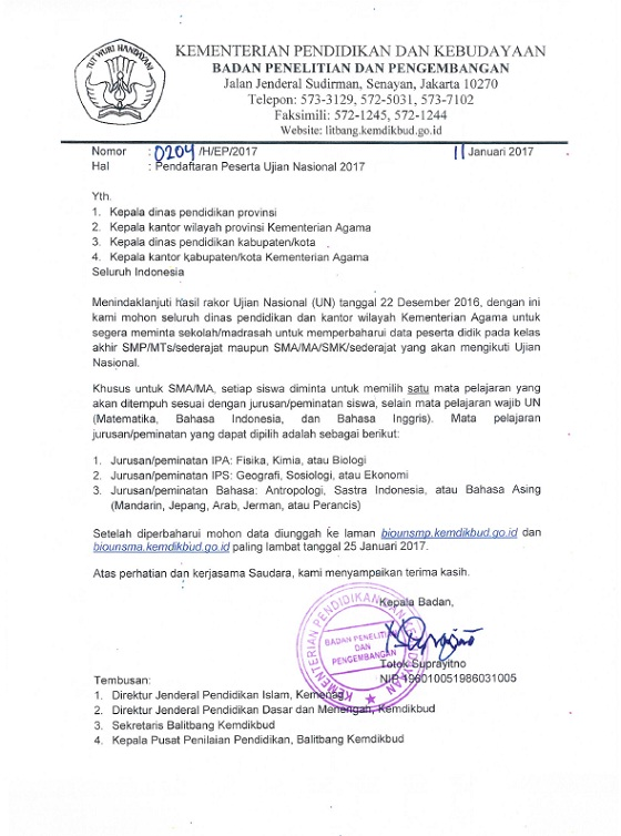 Pendaftaran Peserta Ujian Nasional (UN) 2017