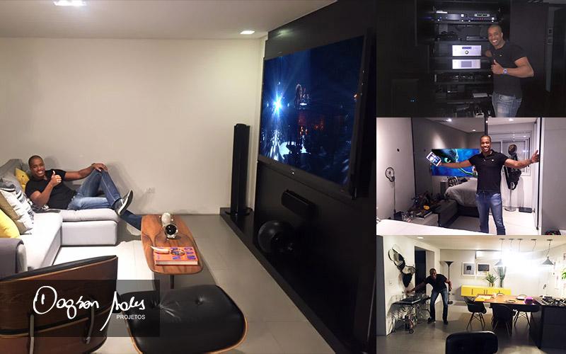 Estiloso projeto de home theater, automação e TV Espelho MirrorTV para apartamento em São Paulo | Dagson Sales Projetos
