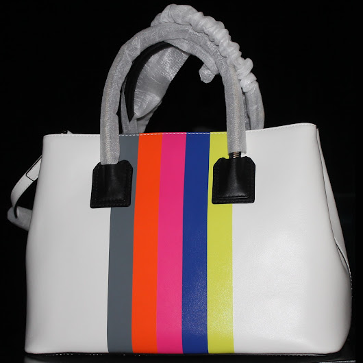 MILLY Logan Striped Leather Tote Bag. Color: White Multi
