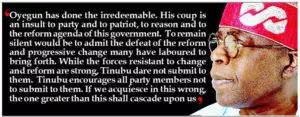 APC National Chairman Chief John Odigie-Oyegun must go over Ondo primary say  Tinubu
