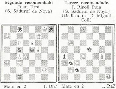Problemas de mate en 2 de Joan Urpí y Josep Ripoll, El Ajedrez Español, Agosto de 1960