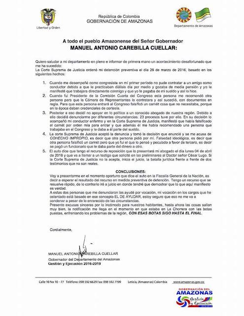 Comunicado Gobernación de Amazonas