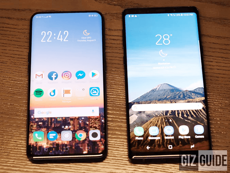 Samsung Galaxy Note9 vs OPPO Find X Specs Comparison