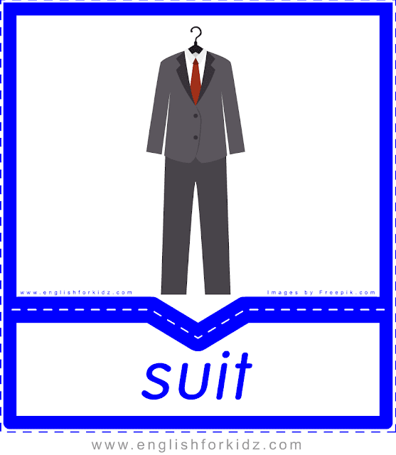 Suit - English clothes and accessories flashcards for ESL students