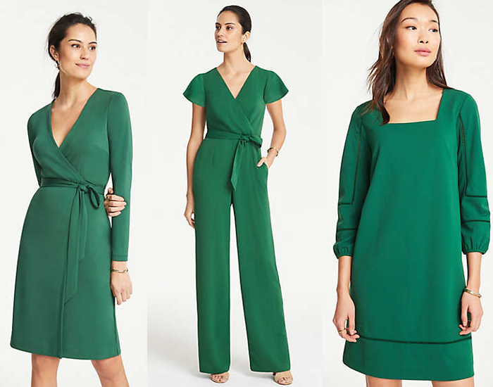 wrap dress, jumpsuit, green dress, ann taylor dresses, sale dresses
