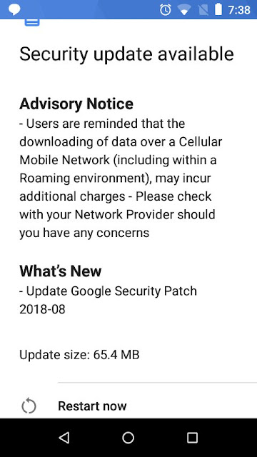 Nokia 1 August 2018 Android Security update