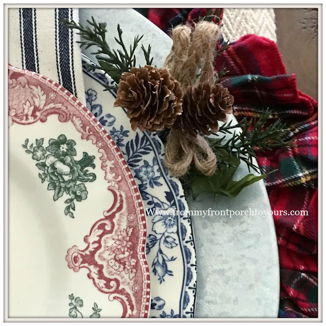 Christmas Place Setting-Transferware-Christmas Plaid- From My Front Porch To Yours