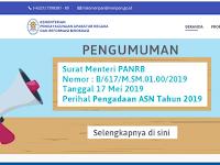 Surat Menpan RB No 617 Perihal Pengadaan ASN Tahun 2019 (CPNS 2019)