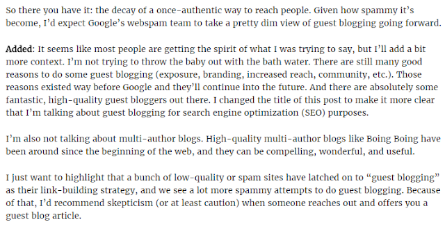 Matt Cutts on Guest Blogging for Link Building