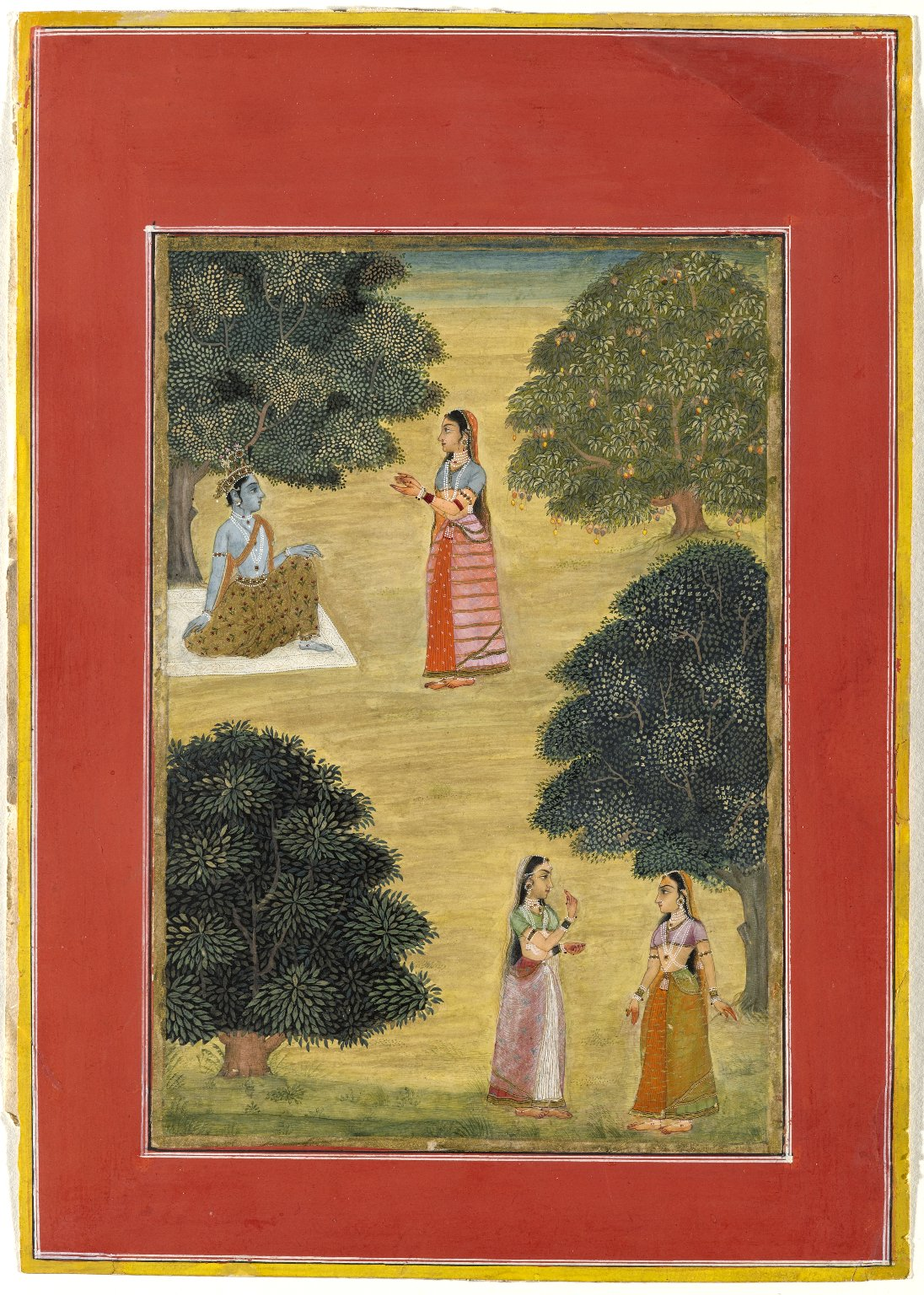 Krishna and Radha by Ruknudin - Miniature Painting, 1684