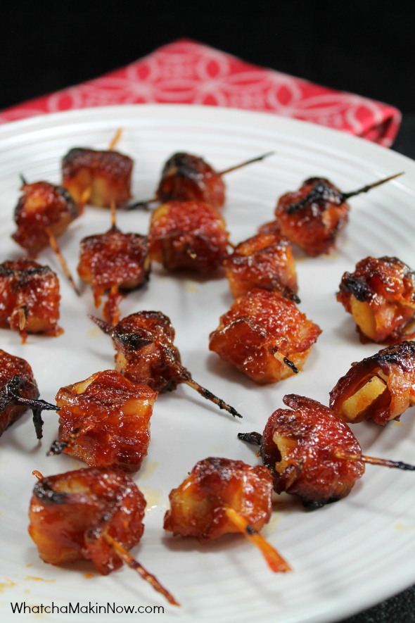 Bacon Wrapped Water Chestnuts - sweet, salty, and crunchy. So easy to make and they are the BEST game day appetizer!