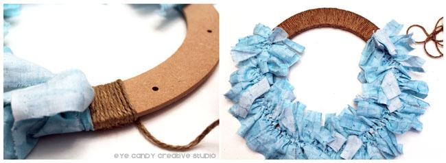 jute, twine, nautical wreath, rag wreath, steps to making a rag wreath