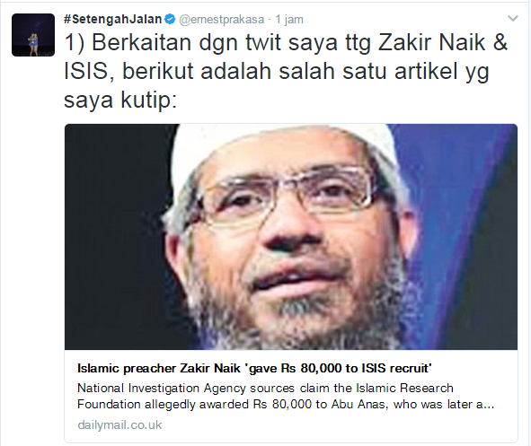 Komika Ernest Menghina dr. Zakir Naik