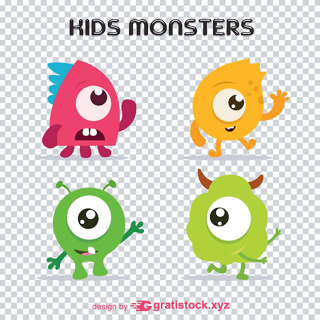 Free Download Vecktors PNG Of Kids Monsters Collection
