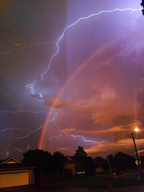 Lightning in the sky after a stormy night in Texas