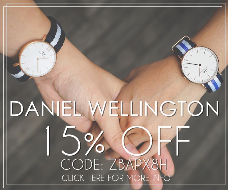 15% on Daniel Wellington and other items on Zalora