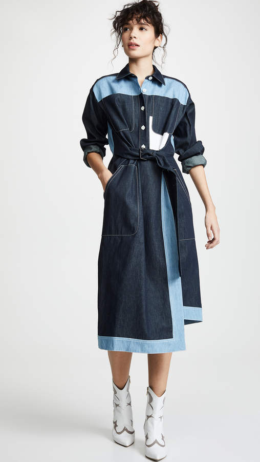 Belted Two Tone Shirtdress