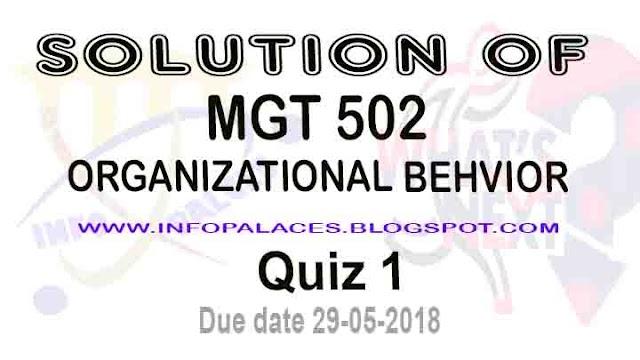 Organizational Behavior MGT 502 Quiz 1 Spring 2018