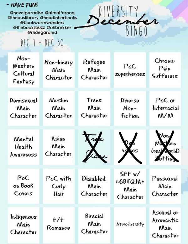 Diversity december bingo love ya books the point is to score bingo by filling out the card below though you get total props for filling out the entire card maxwellsz