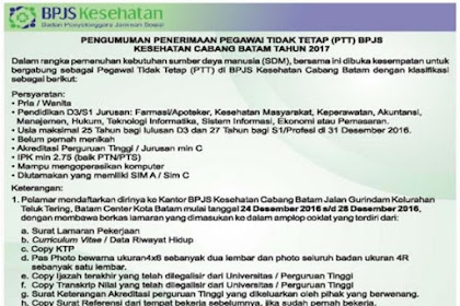 Lowongan Kerja Pegawai Tidak Tetap (PTT) BPJS Kesehatan Cabang Batam Tahun 2017
