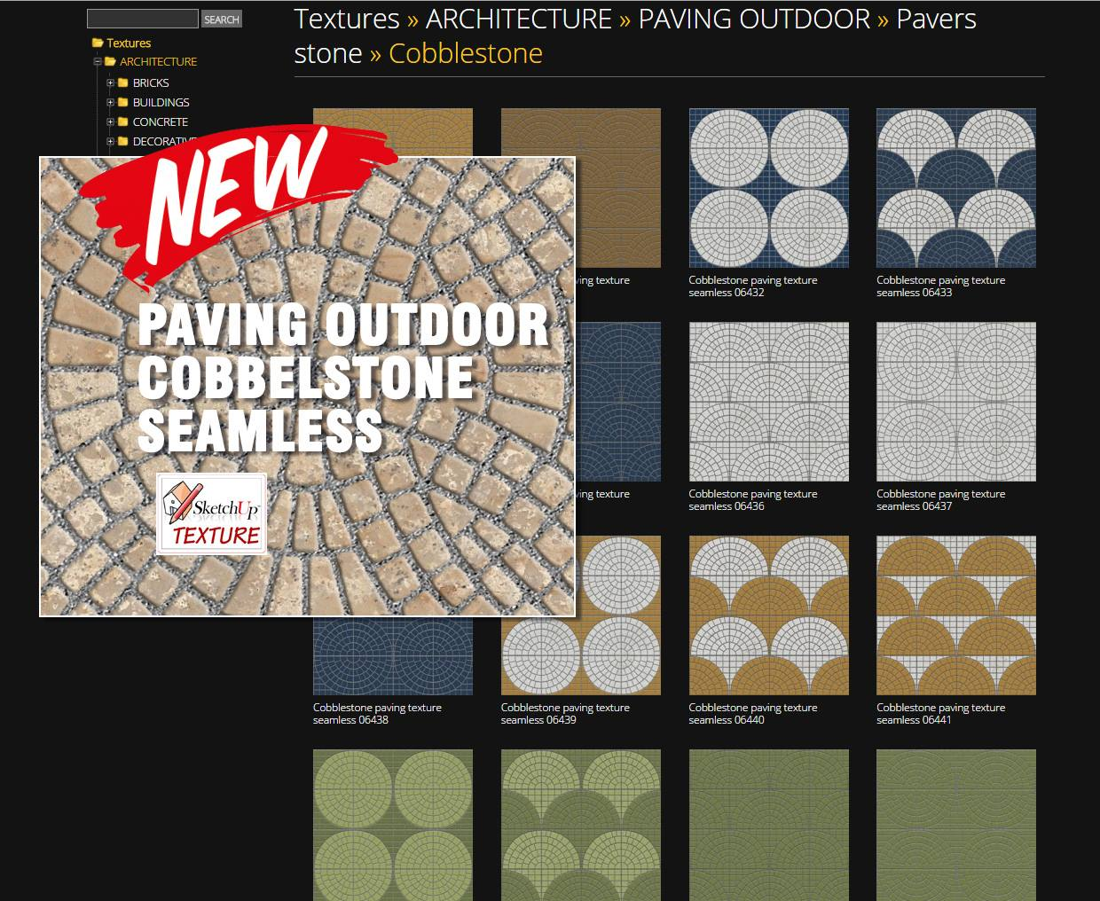 Sketchup texture new fantastic free outdoor cobblestone for Free sketchup textures