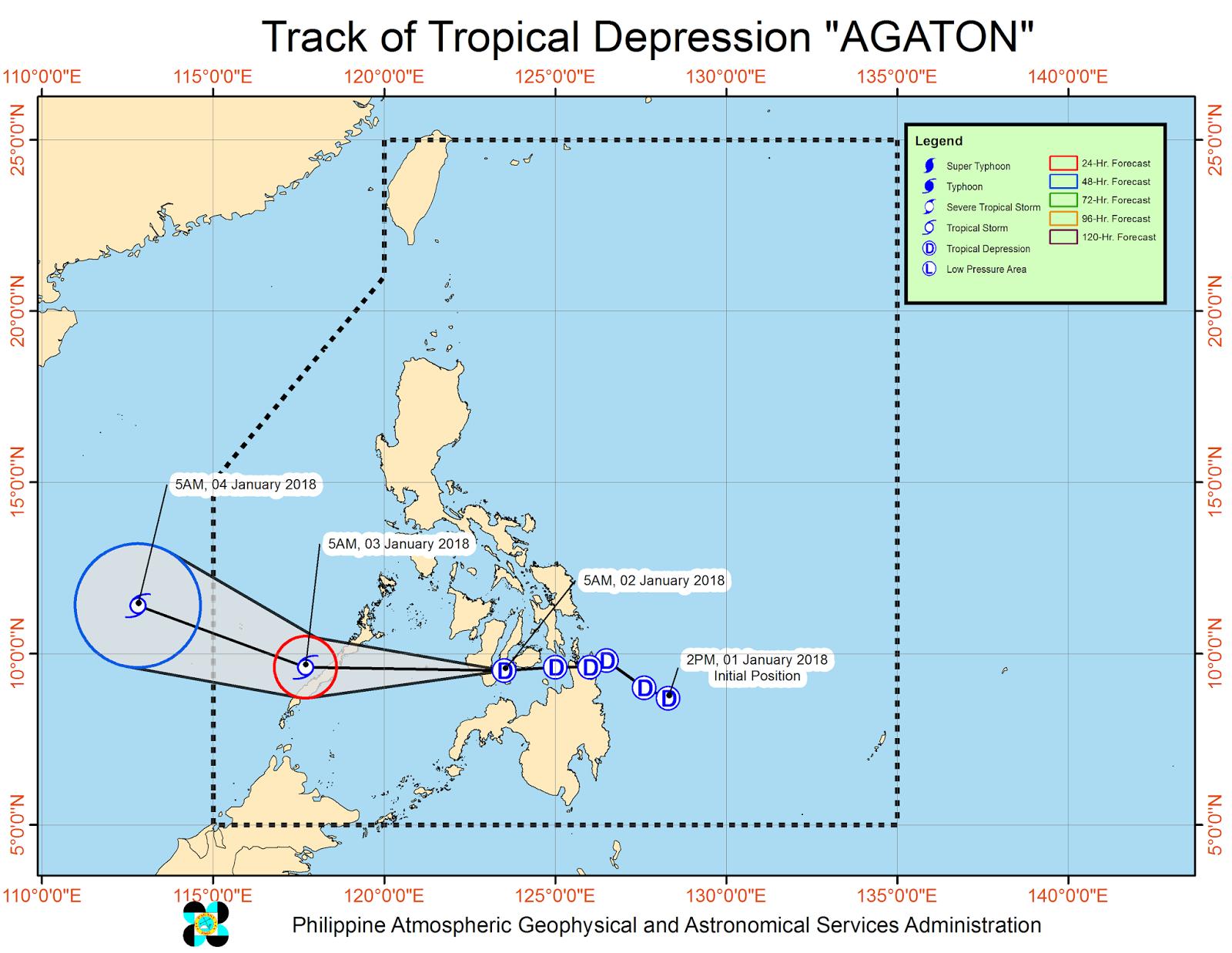 track of Bagyong Agaton