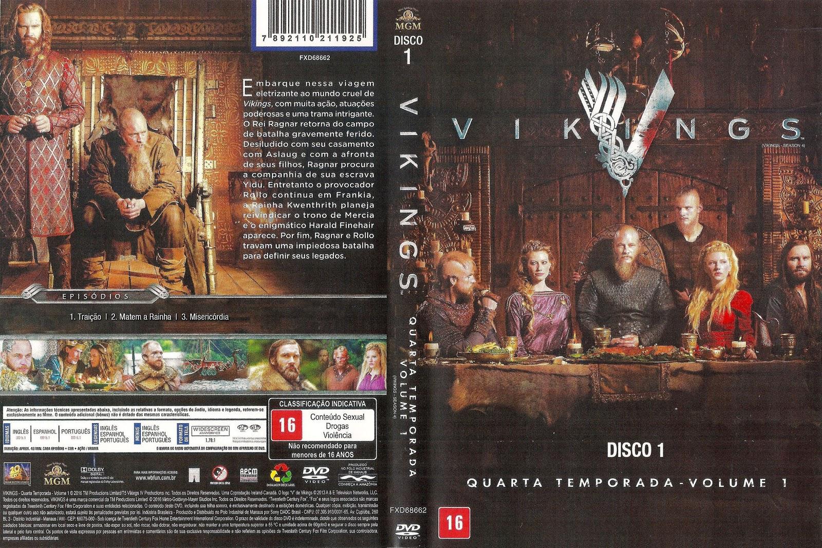 Capa DVD Vikings Quarta Temporada D1 a D3