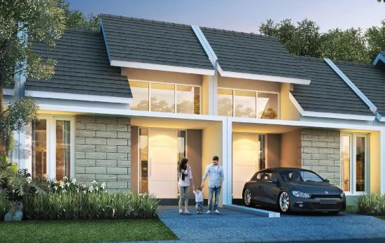 tampak depan rumah minimalis ukuran 6x17 meter 2 kamar tidur 1 lantai
